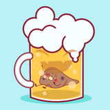 Cartoon liver in the beer. Cartoon liver feel pain in the beer Royalty Free Stock Images
