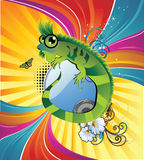 Cartoon lizard  background Stock Images