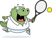 Cartoon Lizard Tennis. A cartoon illustration of a lizard playing tennis Stock Photo