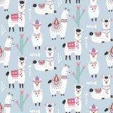 Cartoon Llama Alpaca Seamless Pattern Royalty Free Stock Photography
