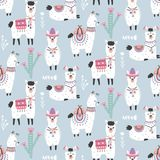 Cartoon Llama Alpaca Seamless Pattern. Hand Drawn Elements. Nursery Childish  Textile, Wallpaper. Vector illustration Royalty Free Stock Photography