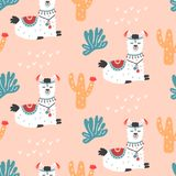 Cartoon Llama Alpaca seamless repeat pattern. Hand drawn nursery childish textile print. Bold fabric design, gift wrapping paper, wall art, home decor. Vector royalty free illustration