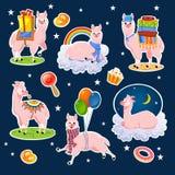 Cartoon llama set isolated on blue background. Cute alpacas for vector illustration