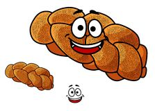 Cartoon loaf of plaited bread with poppy seed Royalty Free Stock Images
