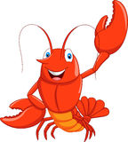 Cartoon lobster waving Royalty Free Stock Images