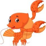 Cartoon lobster waving. Illustration of Cartoon lobster waving Stock Photography