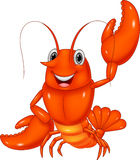 Cartoon lobster waving on white background Stock Image