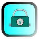 The cartoon lock. The cartoon padlock on a blue background stock illustration