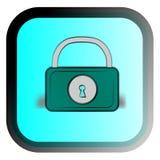 The cartoon lock. The cartoon padlock on a blue background Stock Illustration