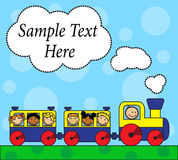 Cartoon locomotive and children traveling Stock Images