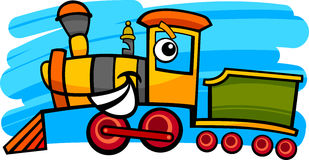 Cartoon locomotive or train character. Cartoon illustration of cute steam engine locomotive or train character Royalty Free Stock Photography