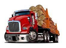 Cartoon logging truck. Isolated on white background. Available EPS-10 vector format separated by groups and layers for easy edit Royalty Free Stock Image