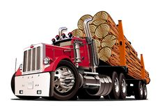 Cartoon logging truck Royalty Free Stock Images