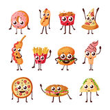 Cartoon logo, fast food characters icons Royalty Free Stock Photos