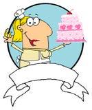 Cartoon logo mascot-cake baker woman Stock Images