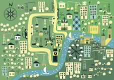 Cartoon London map in vector. Abstract design of the London skyline in the style of an underground map Stock Image