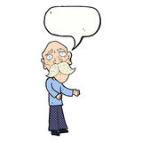Cartoon lonely old man with speech bubble Royalty Free Stock Photo