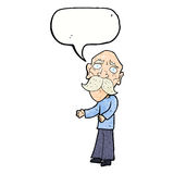 Cartoon lonely old man with speech bubble Royalty Free Stock Photos