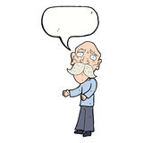 Cartoon lonely old man with speech bubble Royalty Free Stock Photography