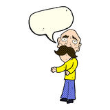 Cartoon lonely old man with speech bubble Royalty Free Stock Images