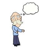 Cartoon lonely old man with thought bubble Stock Photo