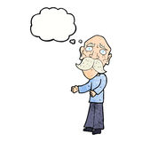 Cartoon lonely old man with thought bubble Royalty Free Stock Photography