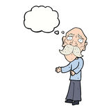 Cartoon lonely old man with thought bubble Royalty Free Stock Images