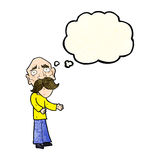 Cartoon lonely old man with thought bubble Stock Images