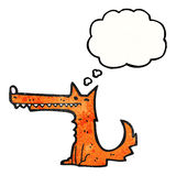 Cartoon long nose fox with thought bubble Stock Photos