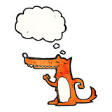 Cartoon long nose fox with thought bubble Royalty Free Stock Photos