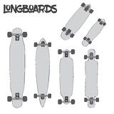 Cartoon longboards of different sizes and kinds  on white background Stock Images