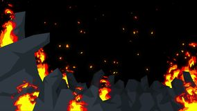Evil abstract animation, Apocalyptic hell background, Fire flames on spooky wilderness,