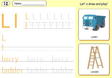 Cartoon lorry and ladder. Alphabet tracing worksheet Stock Photography