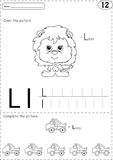 Cartoon lorry and lion. Alphabet tracing worksheet: writing A-Z Stock Photos