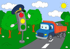 Cartoon lorry and traffic lights Stock Photo