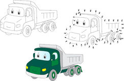 Cartoon lorry. Vector illustration. Coloring and dot to dot game Royalty Free Stock Photo
