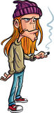 Cartoon loser with long hair smoking Stock Photos