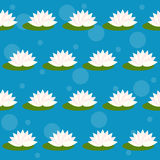 Cartoon lotus  on bright blue cover seamless pattern background Royalty Free Stock Photos