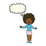 Cartoon loud woman with speech bubble Royalty Free Stock Photography