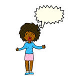 Cartoon loud woman with speech bubble Royalty Free Stock Images