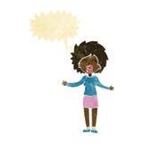 Cartoon loud woman with speech bubble Royalty Free Stock Photos