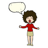 Cartoon loud woman with speech bubble Stock Photos