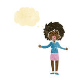 Cartoon loud woman with thought bubble Royalty Free Stock Photo