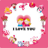 Cartoon love card Stock Image