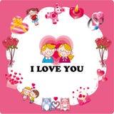 Cartoon love card. Vector drawing Stock Image