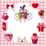 Cartoon love card Royalty Free Stock Photo