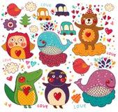 Cartoon love card. Hand drawn  cartoon love card with favorite animals Royalty Free Stock Photos