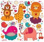 Cartoon love card Stock Photos