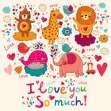 Cartoon love card Stock Images