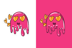 Cartoon In Love Emoji in Ghost Style with hearts. Vector Illustration vector illustration